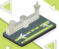 Stazione dell'aeroporto dove gli aeroplani stanno atterrando il concetto isometrico del materiale illustrativo illustrazione vettoriale