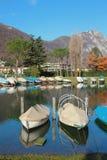 Stazione della barca nella caduta Melide, Svizzera Fotografia Stock Libera da Diritti