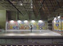 Stazione della metropolitana di Lisbona con i murali e una ragazza che parla al telefono Fotografie Stock