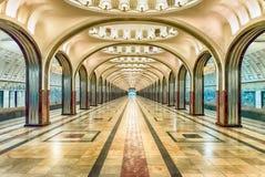 Stazione della metropolitana di Mayakovskaya a Mosca, Russia Immagini Stock