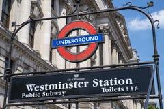 Stazione della metropolitana di Westminster Londra Fotografia Stock