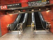 Stazione della metropolitana della scala mobile del viale di Lexington Immagine Stock Libera da Diritti