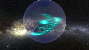Stazione della sfera armillare nello spazio cosmico illustrazione di stock