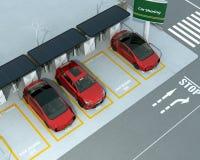 Stazione di car sharing sull'angolo della via Immagine Stock