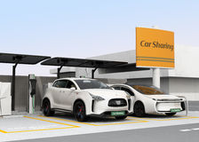 Stazione di car sharing sull'angolo della via Fotografie Stock