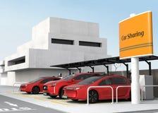 Stazione di car sharing sull'angolo della via Fotografia Stock Libera da Diritti