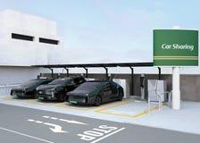 Stazione di car sharing sull'angolo della via Immagine Stock Libera da Diritti