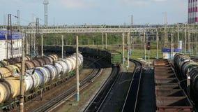 Stazione di caricamento della ferrovia del percorso del parco video d archivio