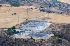 Stazione di distribuzione di energia di elettricità immagini stock