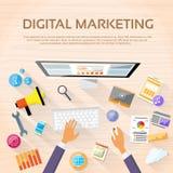 Stazione di lavoro da tavolo dell'area di lavoro di vendita di Digital royalty illustrazione gratis