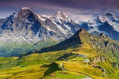 Stazione di Mannlichen, destinazione turistica famosa, Bernese Oberland, Svizzera, Europa Fotografia Stock