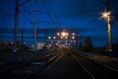 Stazione di notte Fotografia Stock