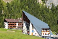 Stazione di partenza della cabina di funivia da Malga Ciapela, Veneto, Italia immagine stock libera da diritti