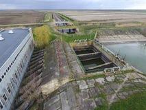 Stazione di pompaggio dell'acqua dell'impianto di irrigazione delle risaie Vista Fotografia Stock