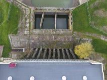 Stazione di pompaggio dell'acqua dell'impianto di irrigazione delle risaie Vista Fotografia Stock Libera da Diritti