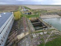 Stazione di pompaggio dell'acqua dell'impianto di irrigazione delle risaie Vista Immagine Stock Libera da Diritti