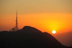 Stazione di radio con il tramonto Fotografia Stock