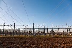 Stazione di relè di elettricità con l'isolante ad alta tensione ed il potere Fotografie Stock