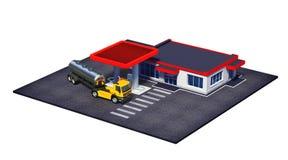 Stazione di servizio con il camion dei semi del combustibile ed il mini-mercato o il negozio del coffe Immagine Stock Libera da Diritti