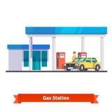 Stazione di servizio con l'uomo che rifornisce automobile di combustibile royalty illustrazione gratis