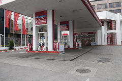 Stazione di servizio vuota di Lukoil Fotografie Stock Libere da Diritti