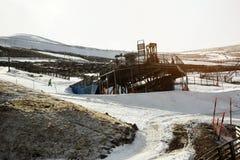 Stazione di Snowy Skii Fotografia Stock Libera da Diritti