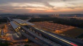 Stazione di transito della rapida DI MASSA di MRT in Kwasa Damansara Fotografia Stock Libera da Diritti