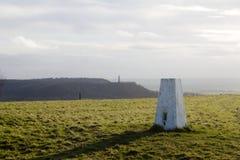 Stazione di triangolazione, indagine dell'artiglieria, collina di Stinchcombe, Dursley Fotografie Stock