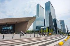 Stazione e grattacieli di Rotterdam Centraal Fotografie Stock Libere da Diritti