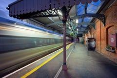 Stazione ferroviaria alla notte Fotografie Stock