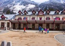 Stazione ferroviaria a Chamonix-Mont-Blanc Fotografia Stock Libera da Diritti