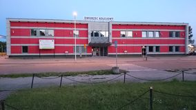 Stazione ferroviaria del 'dowo/Dzialdowo del dziaÅ di Dworzec Kolejowy fotografia stock libera da diritti
