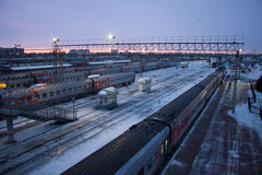 Stazione ferroviaria del Russo di Ä?eljabinsk Fotografia Stock Libera da Diritti