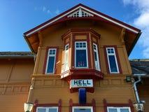 Stazione ferroviaria dell'inferno nella contea di Trondelag, Norvegia Fotografia Stock