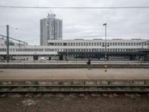 Stazione ferroviaria dell'Ungheria nella città di Szolnok Fotografie Stock Libere da Diritti