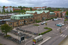 Stazione ferroviaria della centrale di Halmstad dell'entrata anteriore Fotografie Stock Libere da Diritti