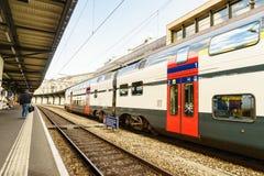 Stazione ferroviaria della Svizzera - HDR Fotografia Stock Libera da Diritti