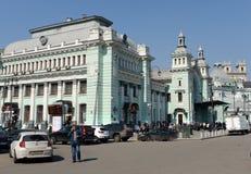 Stazione ferroviaria di Belorussky un giorno senza nuvole Immagine Stock Libera da Diritti