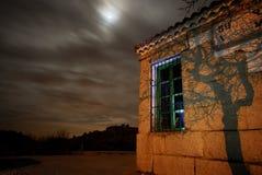 Stazione ferroviaria di Bustarviejo alla notte Fotografia Stock