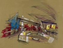 Stazione ferroviaria di futuro dell'illustrazione di prospettiva di romanzo Immagini Stock Libere da Diritti