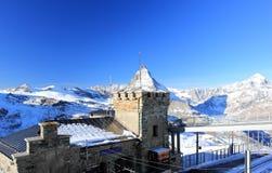 Stazione ferroviaria di Gornergrat ed il fronte orientale del Cervino Le alpi, Svizzera Fotografia Stock