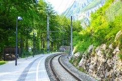 Stazione ferroviaria di Hallstat Fotografia Stock