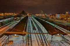Stazione ferroviaria di notte Immagine Stock Libera da Diritti