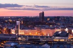 Stazione ferroviaria di Riga alla sera Fotografia Stock Libera da Diritti