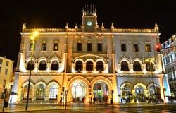 Stazione ferroviaria di Rossio, Lisbona Fotografie Stock Libere da Diritti