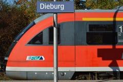 Stazione ferroviaria in Dieburg, Hesse, Germania immagini stock libere da diritti