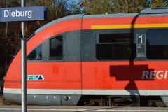 Stazione ferroviaria in Dieburg, Hesse, Germania immagini stock