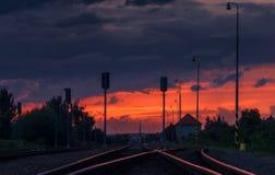 Stazione ferroviaria dopo la tempesta immagini stock