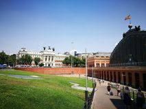 Stazione ferroviaria e Ministro dell'agricoltura, Madrid, Spagna Fotografia Stock Libera da Diritti
