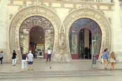 Stazione ferroviaria elaborata di Rossio dell'entrata, Lisbona Immagini Stock Libere da Diritti